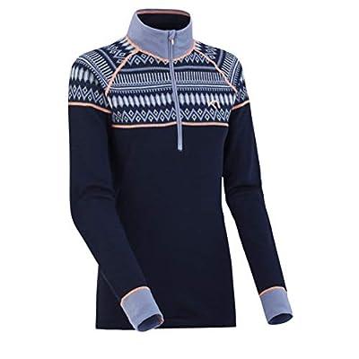 Kari Traa Women's Lokke Base Layer Top - Half Zip 100% Merino Wool Thermal Shirt Naval X -Large