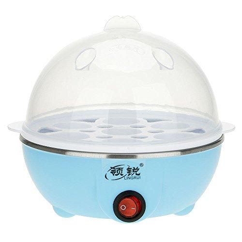UNAKIM--Clear 7 Eggs Boiler Steamer Electric Poacher Breakfast Cooker Poacher 220V 50HZ (blue)