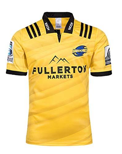 HBRE Copa Mundial De Rugby,Camiseta De FúTbol De Nueva Zelanda, Rugby Transpirable, Camiseta De Rugby para Hombre,Camiseta Deportiva De Manga Corta De Secado RáPido para,Yellow,L