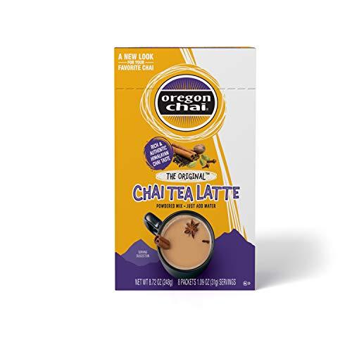 Oregon Chai Original Chai Tea Latte Powdered Mix, 8 Count Envelopes per Box, 1.1 oz each (31g) (Pack of 6), Powdered Spiced Black Tea Latte Mix For Home Use, Café, Food Service
