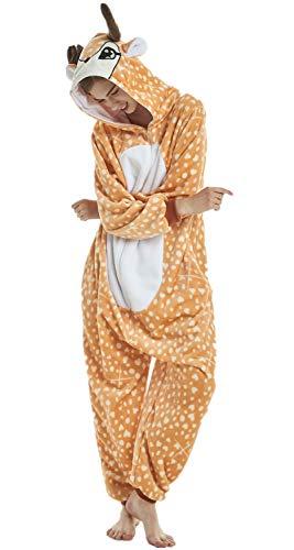Erwachsene Unisex Einhorn Tiger Lion Fox Onesie Tier Schlafanzug Cosplay Pyjamas Halloween Karneval Kostüm Loungewear Christmas Deer S 145-155cm