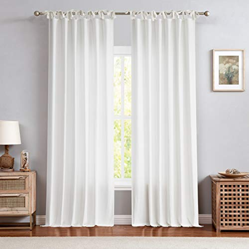 Central Park White Tie Top Curtain Semi Sheer Window Treatment Linen Textured Decorative for Living Room Drape 84 Inch Length Treatment for Bedroom Farmhouse Rustic Curtain, White, 1 Panel