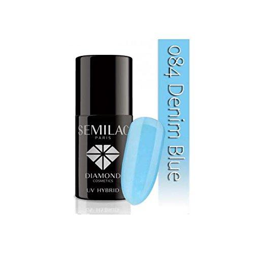 Semilac UV Vernis à ongles hybride, N ° 084, 7 ml, Bleu denim