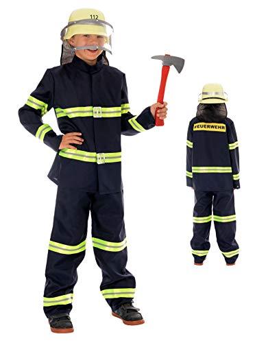 Magicoo Feuerwehr Kostüm für Kinder Jungen inkl. Bluse & Hose dunkelblau - Gr 92 bis 140 - Feuerwehrmann Kostüm Kind Fasching (110/116)