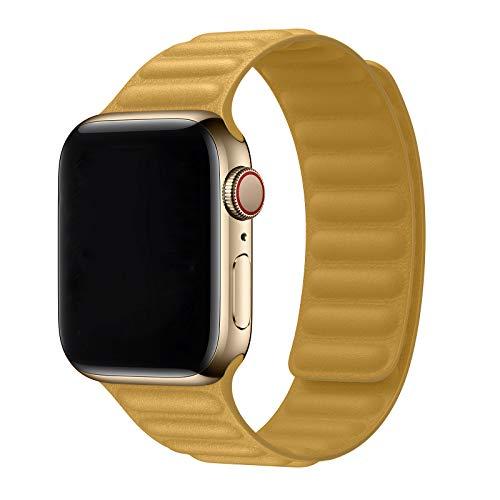 Jinlida kompatibel mit Apple Watch Armband 42mm 44mm, Lederband mit Ersatzband kompatibel für iWatch Serie 6/5/4/3/2/1/SE(Gelb)