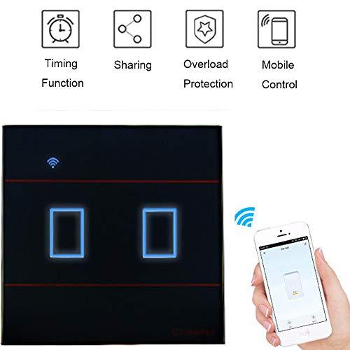 BHLL Alexa Smart lichtschakelaar, touch-schakelaar, dimmer app, afstandsbediening, bedien je overal en overbelastingsbeveiliging, werkt met Amazon Alexa en Google Home