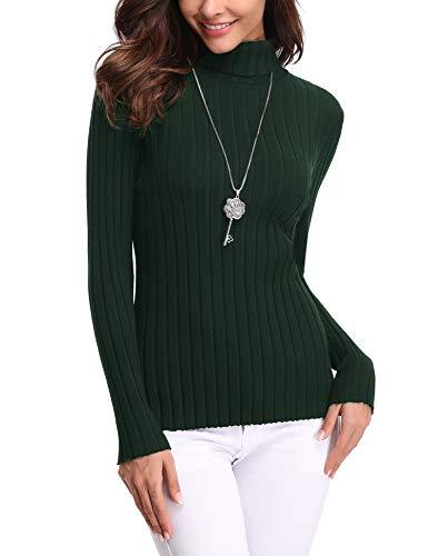 Abollria dames rolkraagpullover elegant lange mouwen gebreide trui zacht geribbeld trui met opstaande kraag voor winter