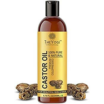 The Yogi Castor Oil Organic Cold Pressed for hair growth and skin 200ml   Rejuvenates Hair Roots  Smoothens Skin  Strengthen-Shiny Nails   Highly Potent–Absorbent 