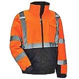 High Visibility Reflective Winter Bomber Jacket, Black Bottom, ANSI Compliant, Ergodyne GloWear 8377, Orange, Extra Large