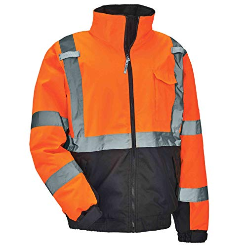 High Visibility Reflective Winter Bomber Jacket, Black Bottom, ANSI Compliant, Ergodyne GloWear 8377, Orange, Extra Large