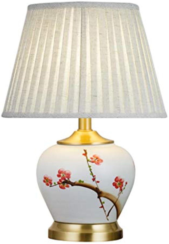 GXJ- table lamp Chang-dq Weie Keramik Tischlampe, Plum Pattern Lampenkrper, Wohnzimmer Blaumen Shop Bekleidungsgeschft Tischlampe 35  35  46CM Sanftes Licht (Farbe   D, gre   35  35  46CM)