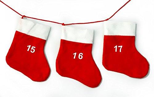 Adventskalender Kalender mit 24 roten Socken je 18 x 20 cm Advent Weihnacht Adventskette