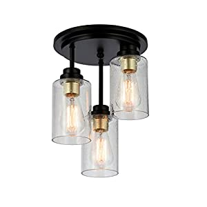 KRASTY 3-Light Black and Gold Semi Flush Mount Ceiling Light,Hall Light Fixture with Seeded Glass Shade for Dining Room Bedroom Kitchen Living Room Entryway