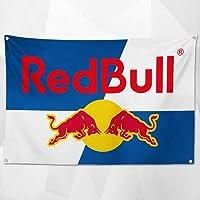 「レッドブル・ロゴ」特大フラッグ・旗バナー・約150cm×90cmのビックサイズでお部屋・ガレージの装飾に最適!アメリカ雑貨・カーレース