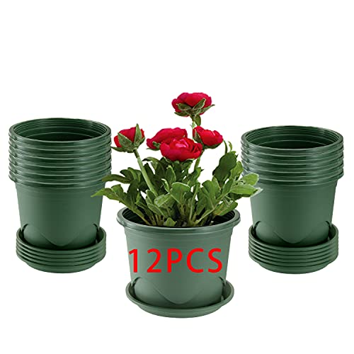 12PCS 19CM fioriere in plastica con piattini, piantatrice di piantine per vivaio per il controllo delle radici Contenitore per vasi da fiori da giardino per piante da esterno da interno, aloe, erbe