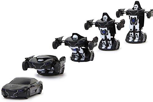 JAMARA 410044 - Robibot Die Cast 1/32 transformable - 2in1 Transformation zum Roboter oder Fahrzeug auf Knopfdruck, frei fahrende Räder, profilierte Gummireifen, Karosserie Metall/Kunststoff, schwarz