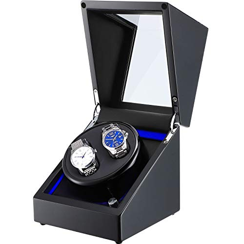 NEWTRY Automatic Watch Winder Double Watches Winder Boxes with Light Quiet Motor for Watches Display for Men and Women Gift AC Adapter and Battery Powered Not Include Watches 1 pcs (Black+Black)