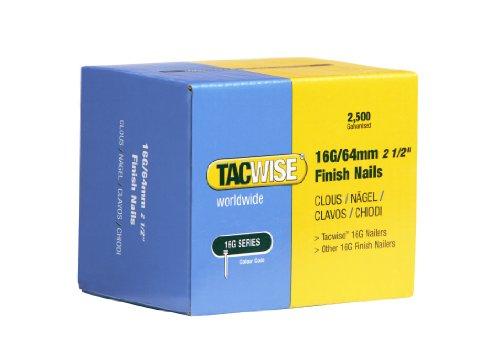TACWISE 0301 Clous de Finition 16G/64 mm, Boîte de 2.500, Argent, 64 mm