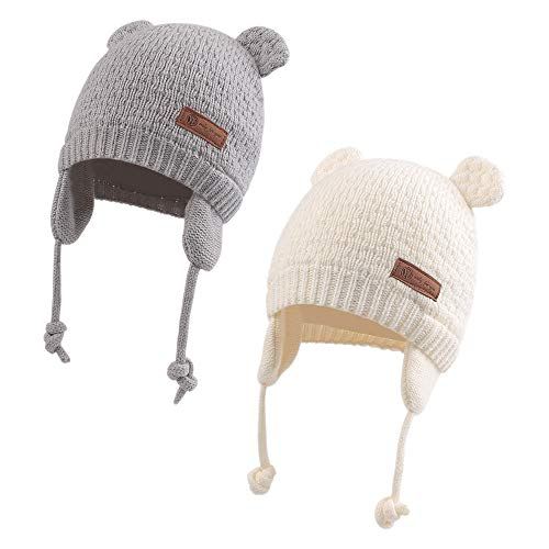 Winter Baby Girl Knitted Hat Autumn Earflap Beanie Warm Pompom Infant Toddler Boys Hats (Bear(Gray+White), M)