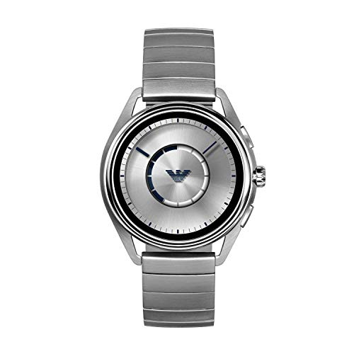 Emporio Armani Men's Stainless Steel Plated Touchscreen Smartwatch, Color: Silver-Tone...