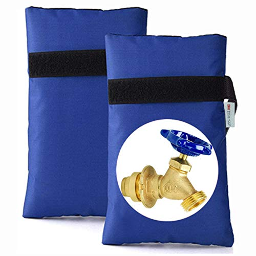 """2 Pack Thinsulate Outdoor Faucet Covers for Winter, Reusable XL Faucet Sock, Fit for Wall Faucets Outside, Waterproof Insulated Spigot Cover Freeze Protection for Outdoor Faucet - Blue 6.5"""" x 10"""""""