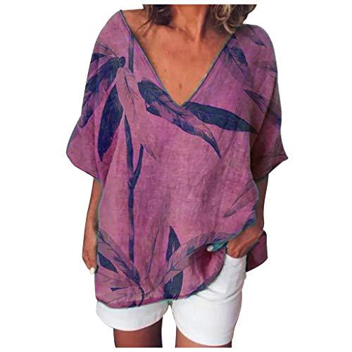 Winkey  - Camisa de lino suelta para mujer con estampado de hojas y cuello en V, manga corta Rojo rosso M