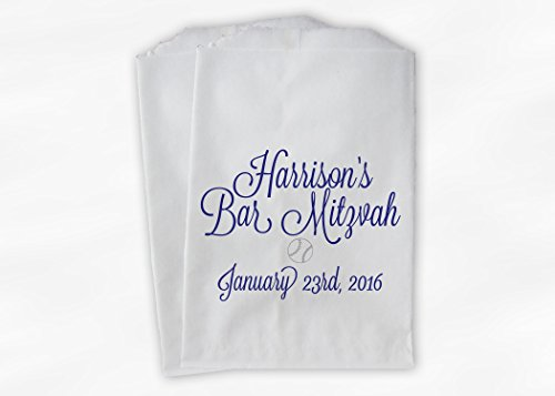 Bar Mitzvah Baseball Favor Bags for Candy Buffet in Blue Violet - Personalized Set of 25 Paper Bags (0182)