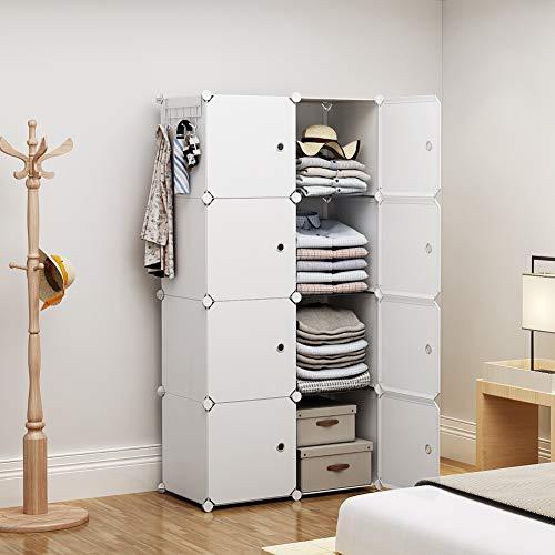YOZO Portable Wardrobe Closet Modular Dresser Chest Drawer Ployresin Clothes Storage Organizer Cube Shelving Unit Multifunction Toy Cabinet Bookshelf DIY Furniture Teens Kids White 8 Cubes