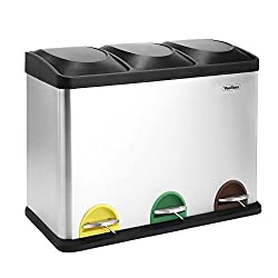 kitchen accessories 3 compartment colour coded recycling Bin