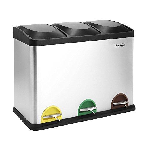 Vonhaus - Cubo de Pedal para Reciclaje vonhaus de 45l litros de Acero Inoxidable de 3 compartimientos en 1