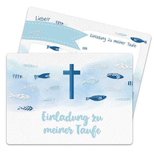 13 Einladungskarten zur Taufe - Motiv Kreuz und Fische - Einladung zur Heiligen Taufe für Mädchen und Jungen - hochwertig gedruckt in DIN A6