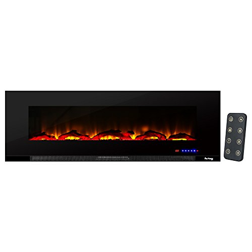 e-Flame USA Livingston 60-inch Wall Mount LED 3-D Electric Fireplace Stove with Timer and Remote - Infrared 3-D Log and Fire Effect