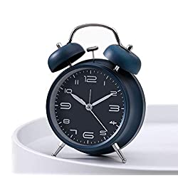 Cotchear 4 inches Twin Bell Alarm Clock, Extra Loud Machinical Ringtone, Frosted Shell, Backlight, No Noise Desk Clock for Home Office (Navy)