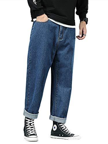 Pantalones de mezclilla rectos para hombre, ajuste holgado, clásicos, pantalones de gran tamaño, pantalones casuales, cintura media, color sólido