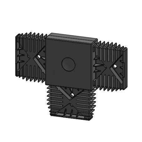 Alu-Unterkonstruktion System 20/60 Aluminium schwarz eloxiert, 2.000 x 20 x 60 mm (T-Verbinder Kunststoff, schwarz)