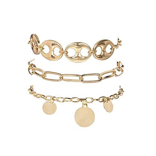 N-B 3 Pcs/set Bracelets Women Men Bohemian Personality Round Geometric Chain Infinity Bracelet Set Ladies Punk Beach Jewelry Accessories