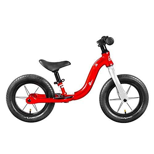 YumEIGE Loopfiets voor kinderen, 360 graden, aluminium zitplaat, verstelbaar, met voetensteun 2-5 jaar oud Competititieve Balance Bike rood