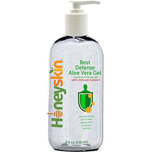 Aloe Vera Hand Purifying Gel - Cleansing and Waterless Wash - 100% Pure, Natural and Organic Protection for Body with Manuka Honey, Tea Tree, and Rosemary Oil - Moisturizing and Hypoallergenic (8oz)