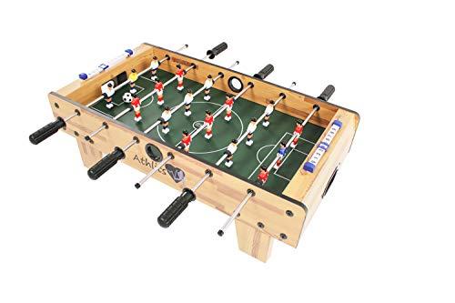 Tischfussball Foosball Fußball Indoor Outdoor Gaming, inkl. 2 Bälle, 2 Getränkehalter, höhenverstellbare Füße, hochgezogene Spielfeldecken, Tischkicker, Kicker, Kickertisch