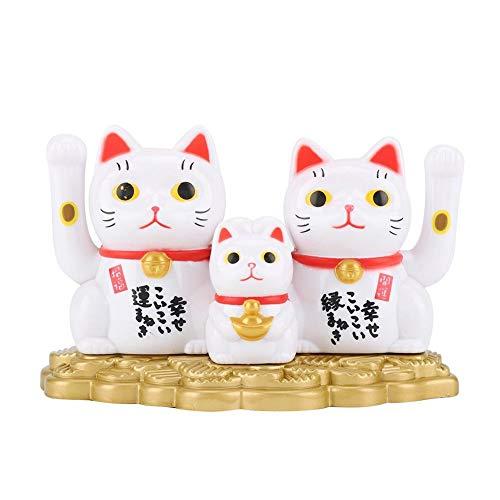 Gato de la fortuna, alimentado por energía solar, diseño de gato de la suerte, saludando a sus gatos felices para el hogar, tiendas y decoración del coche