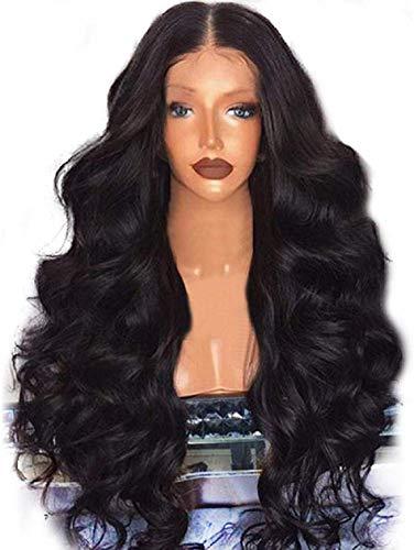 BIGBIGWORLD Hair Extensions Zwart Pruik, 26 inch Lange Golvend Warmte Veilig Synthetisch Haar Voor Dames Cosplay Kostuum Halloween Party Haar Pruik met Pruik Cap