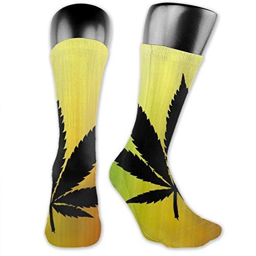 Anime calcetines Cannabis Leaf suave de secado rápido transpirable deportes calcetines unisex de la tripulación calcetines de 39,7 cm