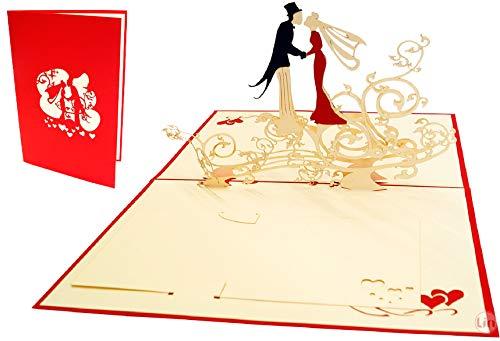 Lin de Pop up Cartes de mariage mariage cartes, invitations Valentin Cartes de mariage 3D Cartes de mariage cartes de vœux, Félicitations, couple de mariés sur un treifel Fleur