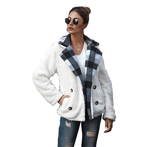 UMore Damen Plüschjacke Mantel Casual Teddyfleecejacke Winterjacke Übergroße Coat Kurz Parka Warmen Outwear Mit Tasche