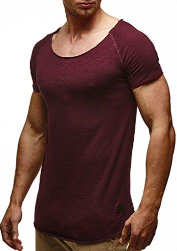 Leif Nelson Herren Sommer T-Shirt Rundhals-Ausschnitt Slim Fit Baumwolle-Anteil Moderner Männer T-Shirt Crew Neck Hoodie-Sweatshirt Kurzarm lang LN6340N Bordeaux Large