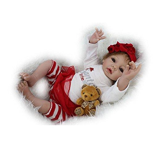 Nicery Poupée en Vinyle souple en silicone Reborn bébé 22inch 55cm Magnétique Bouche Lifelike Garçon Jouet Fille Rouge Père Noël Blanc Baby Doll A3FR