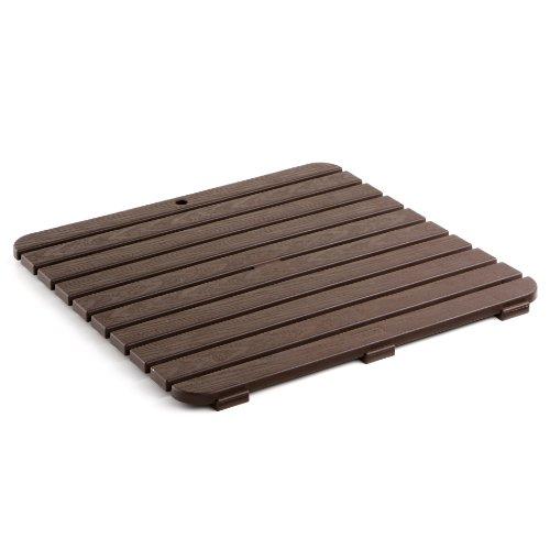 TATAY 5530000 - Tarima antideslizante para ducha y baño, Cuadrada, Plástico polipropileno con grabado efecto madera, Marrón, 55 x 55 cm
