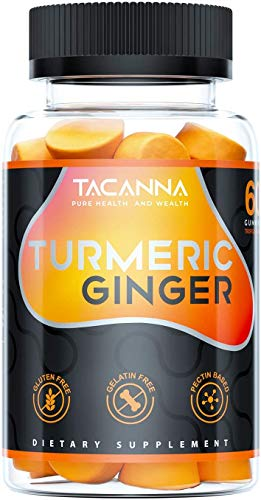 Tacanna Turmeric Ginger Gummies - Curcumin Joint Support - Pain Relief, Antioxidant, Anti-inflammatory. All Natural Chewable Ginger, Turmeric Chews for Adults & Kids, Curcumin 60 Count