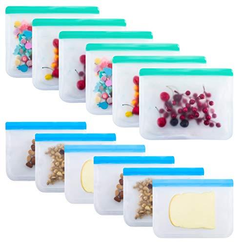 QINREN 12 PCS Reusable Food Storage Bags Extra Thick Ziplock Bag for Food...