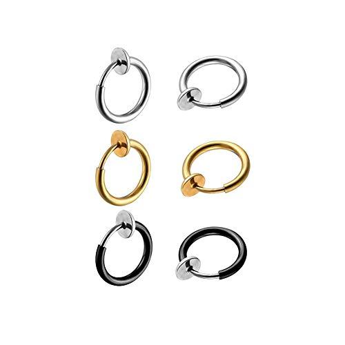 3 pares de aretes retráctiles sin necesidad de piercing, aretes falsos, anillos...